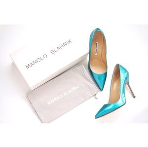 🆕Manolo Blahnik BB 105mm Patent Pumps 38.5